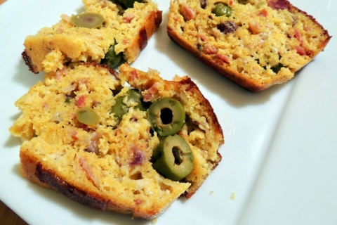 Bacon and Olive Corn Loaf