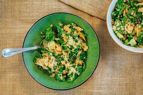 Quinoa Veggie Salad with Tahini-Lemon Dressing