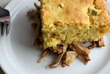 Spicy Shredded Pork and Cornbread Pie by Nancy Mock