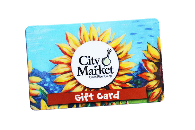 Image of City Market Gift Card. There is a sunflower on the card.